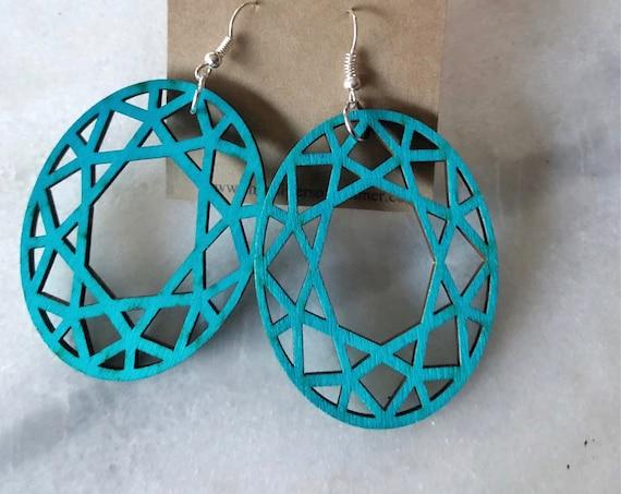 Geometric Circle Laser Cut Wood Earrings