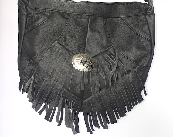 Genuine Black Leather Concho Fringe Purse Bag Crossbody