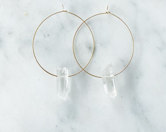 Hoop Earrings with Quartz Crystal Point