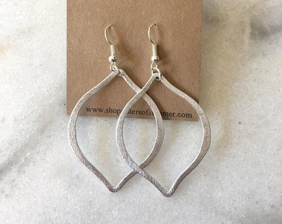 Silver Arabesque Shaped Drop Earrings