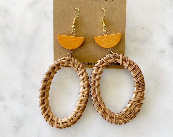 Rattan Weave Oval Earrings Wicker