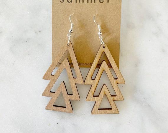 Geometric Arrow Laser Cut Wood Earrings