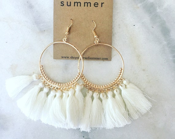 Tassel Fringe Hoop Earrings
