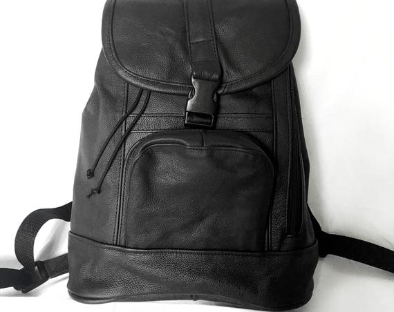 Genuine Black Leather Purse Backpack