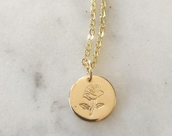 Gold-Filled Handstamped Rose Disc Necklace