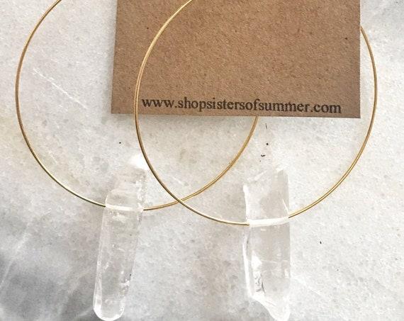 Hoop Earrings with Quartz Crystal Point