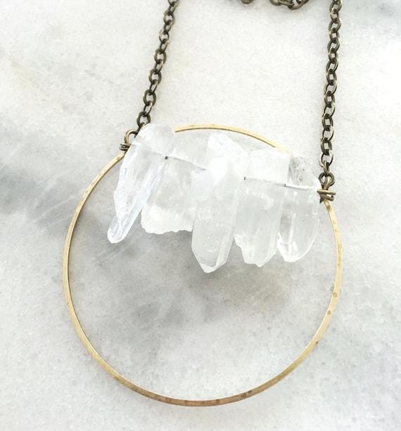 Quartz Crystal Point Circle Statement Necklace
