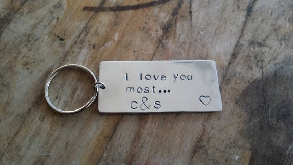 I Love You Most Custom Initial Hand Stamped Keychain