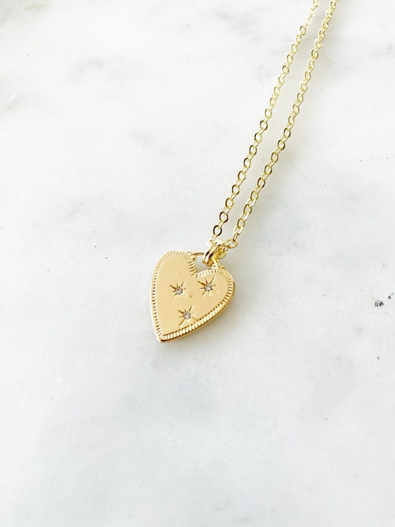 Gold-Filled Crystal Heart Charm Pendant Necklace