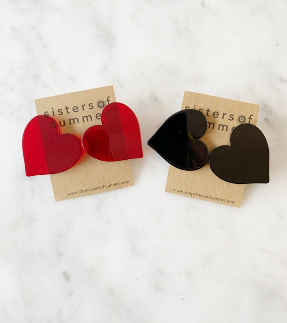 Extra Large Heart Stud Earrings Black or Red