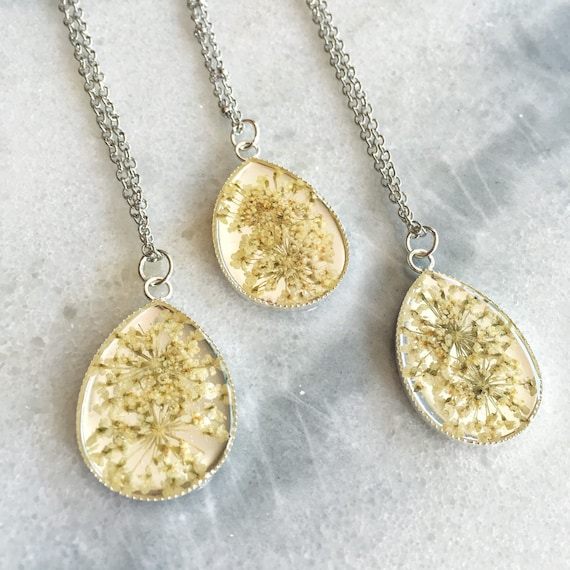 Baby's Breath Real Pressed Flower Teardrop Necklace