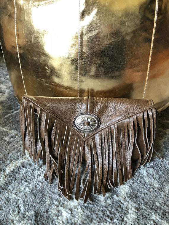 Genuine Leather Fringe Purse Clutch Festival Bag