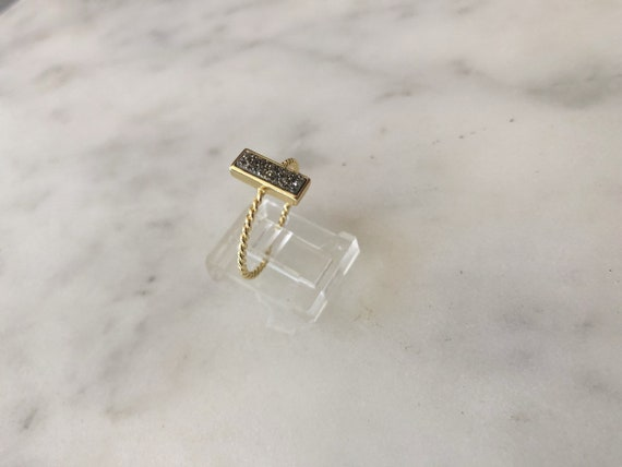 Gold Vermeil Rectangle Silver Druzy Ring