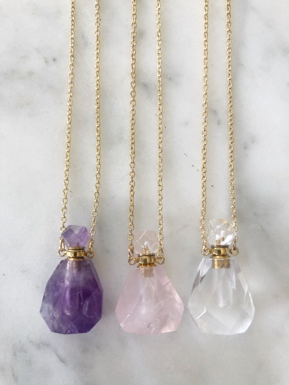 Amethyst, Quartz, or Rose Quartz Crystal Essential Oil Holder Necklace