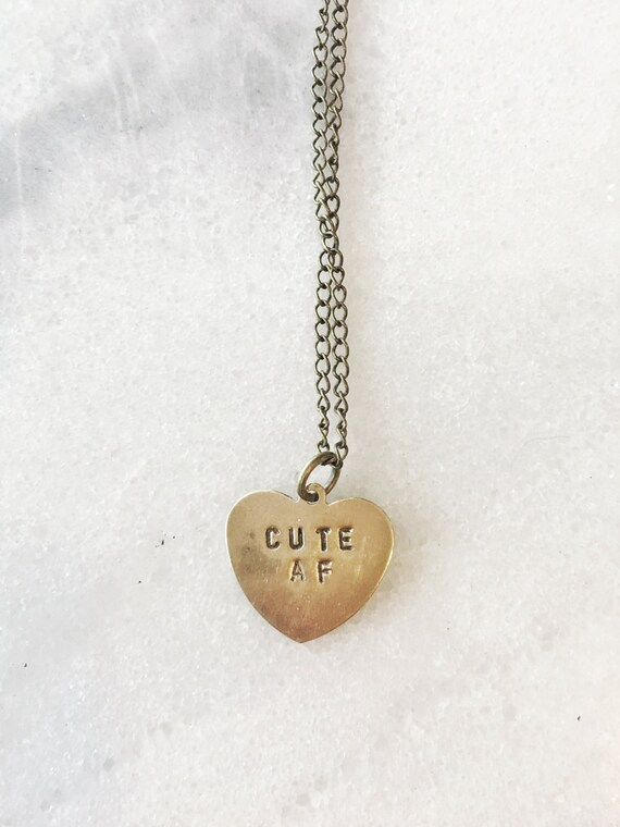 Cute AF Heart Stamped Necklace - Conversation Heart