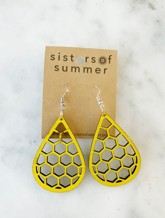 Geometric Yellow Honeycomb Teardrop Natural Wood Earring