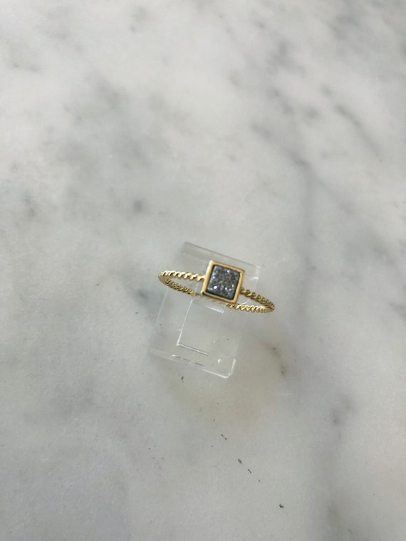 Gold Vermeil Square Druzy Ring
