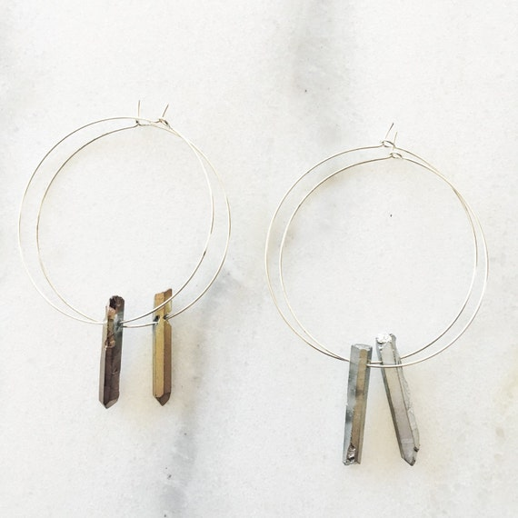 Titanium Quartz Crystal Point Hoop Earrings