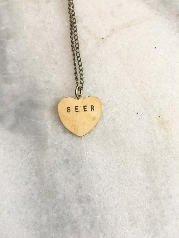 Beer Heart Stamped Necklace - Conversation Heart