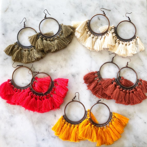 Antique Brass Hoop Tassel Fringe Drop Earrings Fall Colors