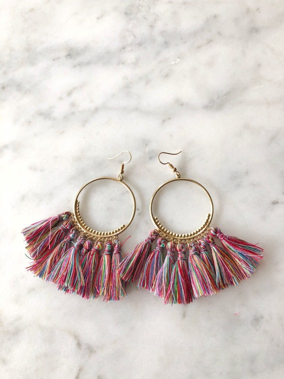 Rainbow Multicolored Tassel Fringe Hoop Earrings