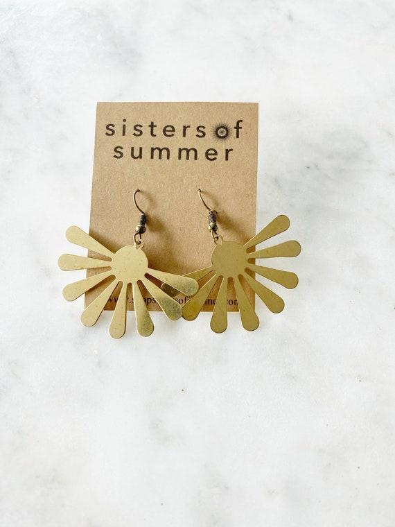 Gold Brass Splat Earrings