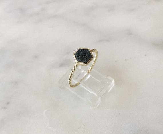 Gold Vermeil Polygon Druzy Ring