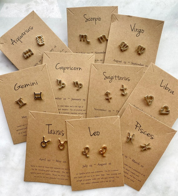 Gold Horoscope Zodiac Stud Earrings Leo Virgo Capricorn Cancer Aries Sagittarius Gemini Pisces Aquarius