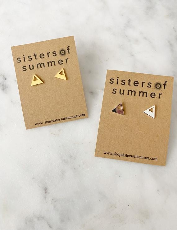 Open Triangle Pyramid Stud Earrings