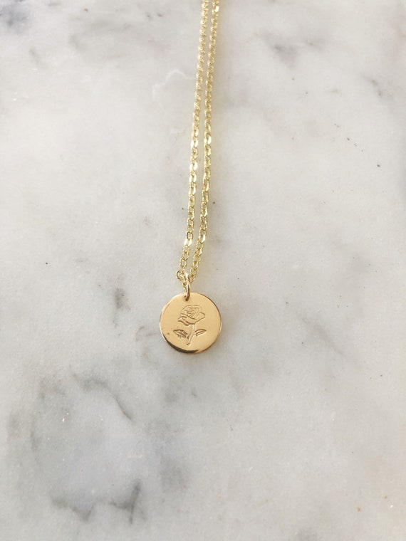 Gold-Filled Handstamped Rose Disc Necklace