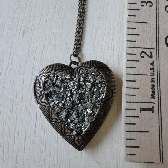 Large Pyrite Dust Heart Locket