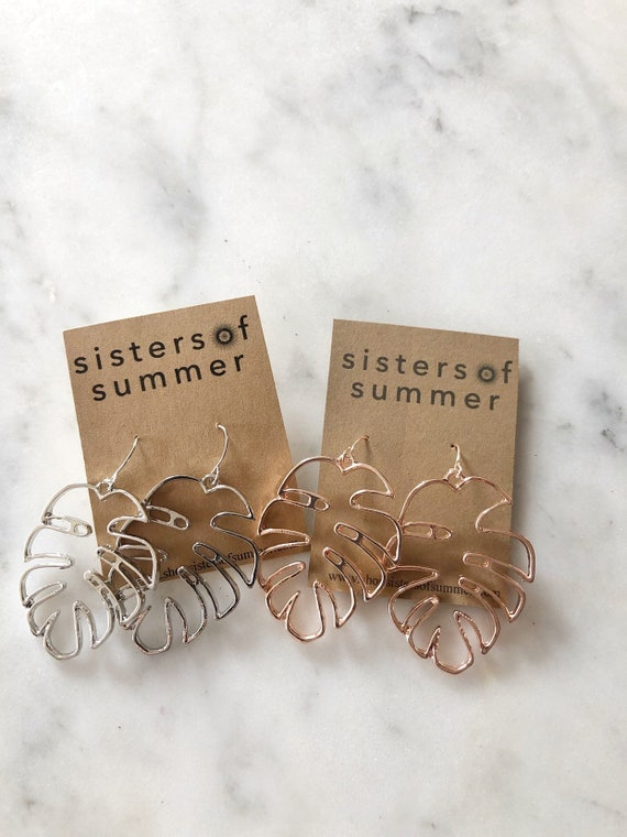 Monstera Leaf Plant Drop Earrings in Rose Gold or Silver