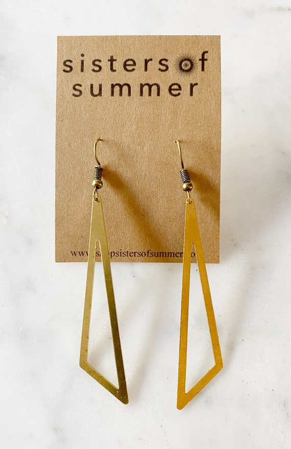 Gold Triangle Pyramid Dangle Earrings