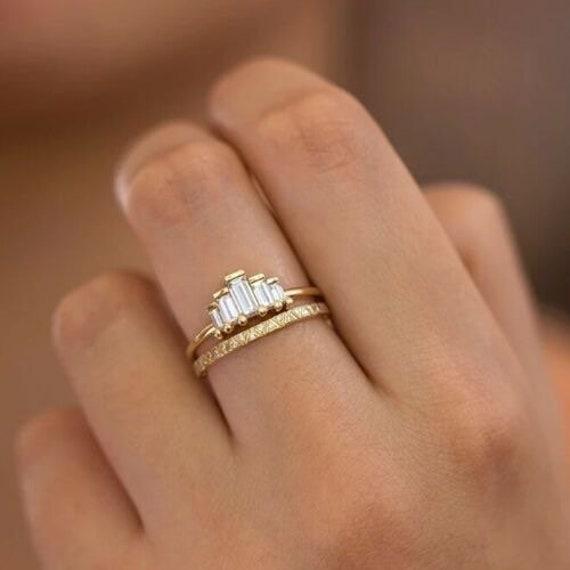 14K Gold-Filled White Sapphire Ring Stacker Set