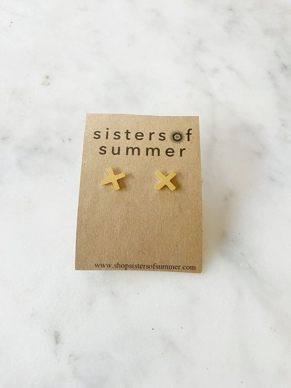 X Plus Cross Sign Stud Earrings