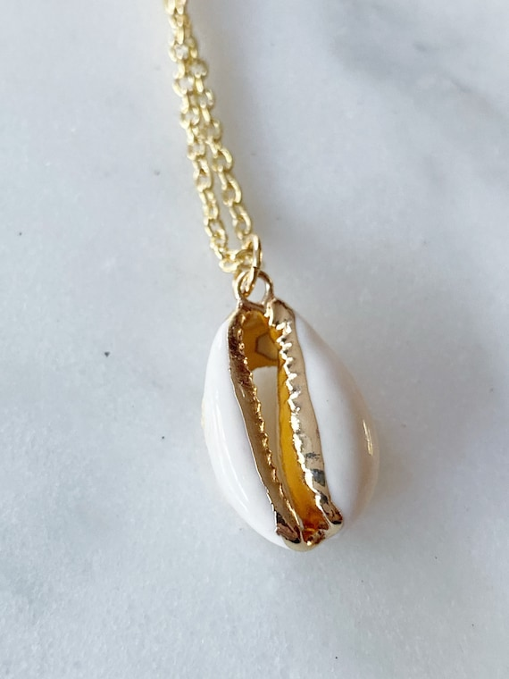 14K Electroplated Cowry Shell Necklace On Gold-FIlled Chain