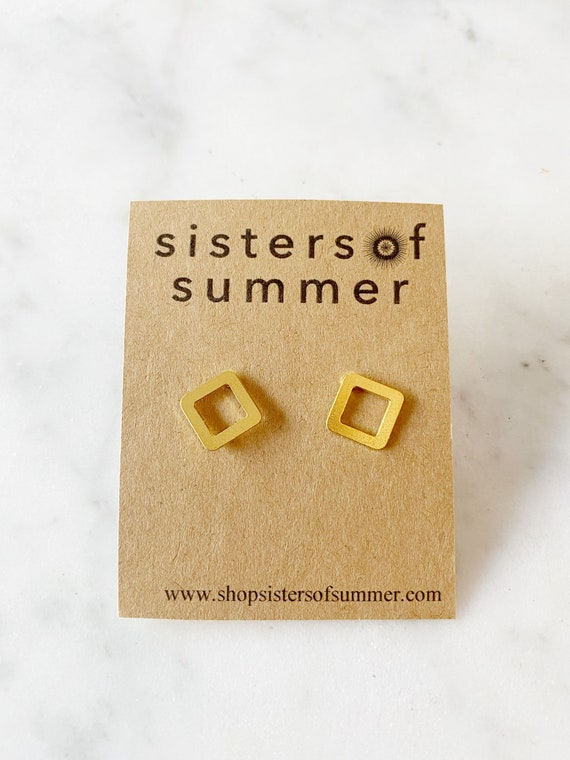 Gold or Silver Diamond Square Stud Earrings