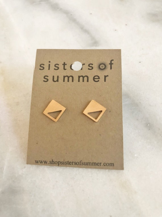 Geometric Square Cube Stud Earrings