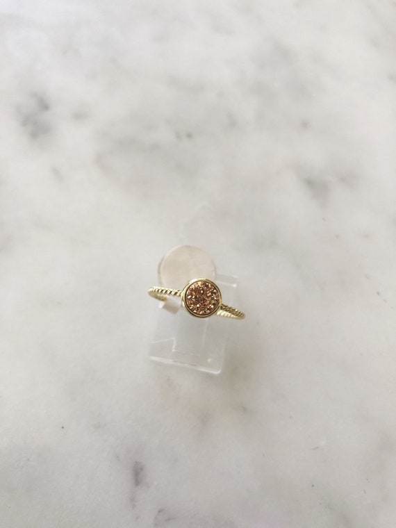 Gold Vermeil Round Rose Gold Druzy Ring