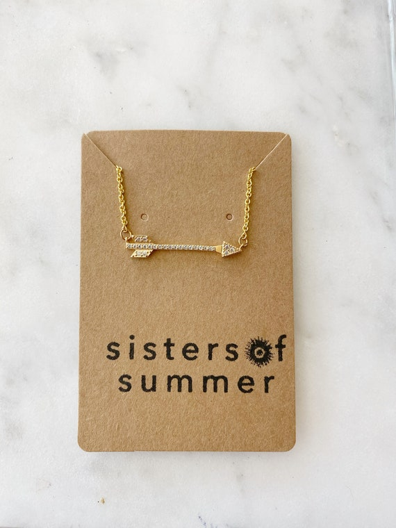 Gold Vermeil Rhinestone Arrow Necklace on Goldfilled Chain