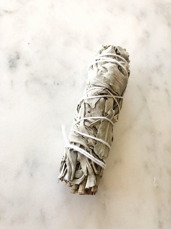 Smudge White Blue Sage Stick Home Cleansing Crystal Cleansing Spiritual Cleansing