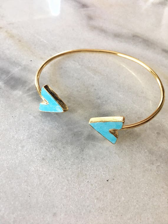 Turquoise Chevron Point Cuff Bracelet