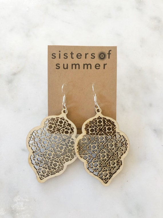 Geometric Arabesque Scroll Laser Cut Wood Earrings