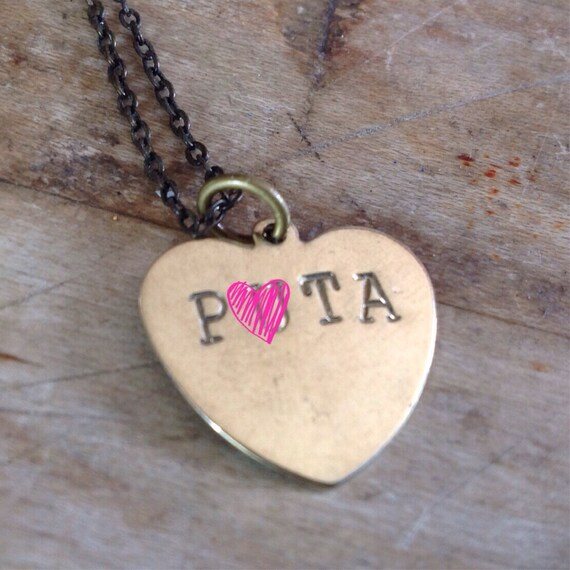 P*ta Stamped Necklace - Mature Conversation Heart