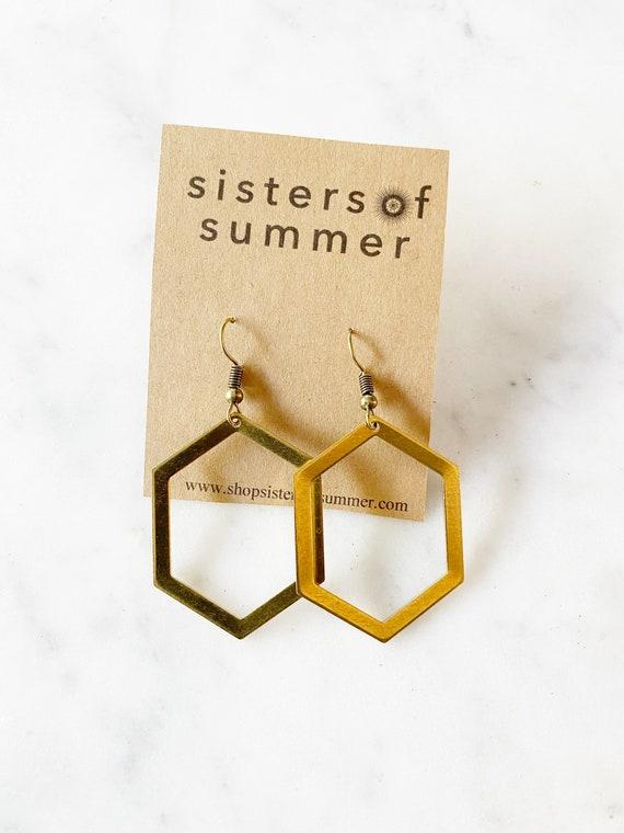 Gold Hexagon Honeycomb Earrings