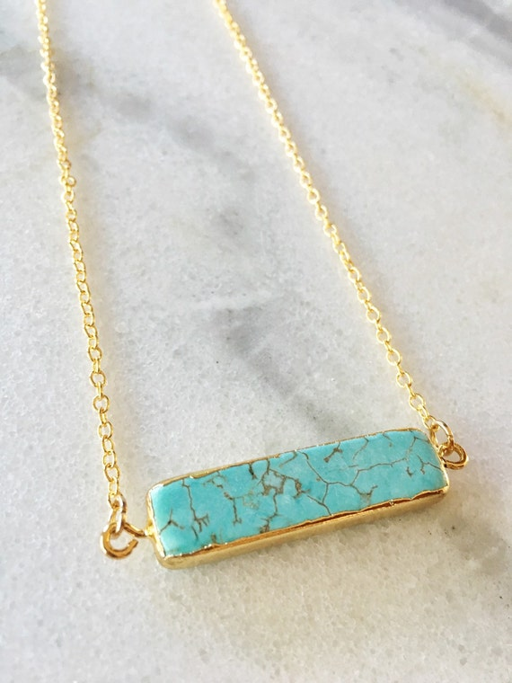 14K Gold Turquoise Bar Necklace