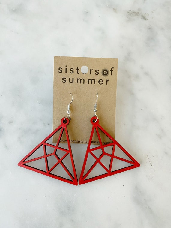 Geometric Red Triangle Natural Wood Earring