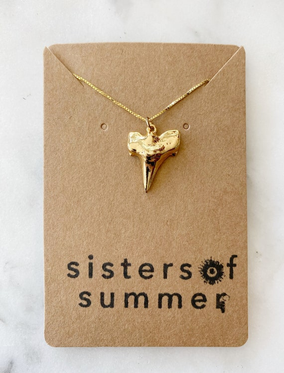 Gold Vermeil Shark Tooth Necklace on Goldfilled Chain