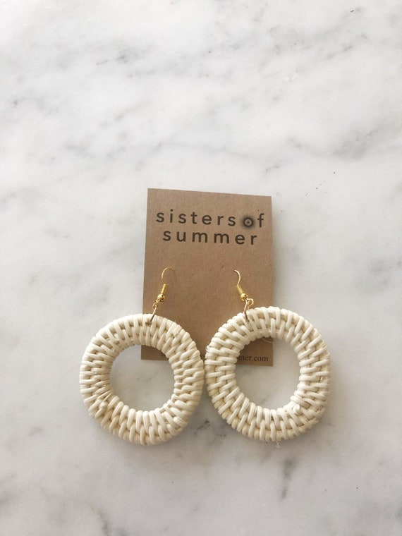 Rattan Weave Circle Earrings Wicker