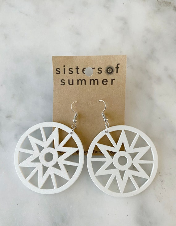 Geometric White Star Sun Natural Wood Earring